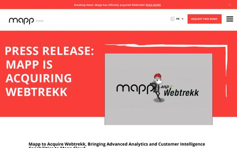 Screenshot of Press Page mapp.com - Press Release: Mapp is Acquiring Webtrekk - Mapp Cloud - captured July 1, 2019