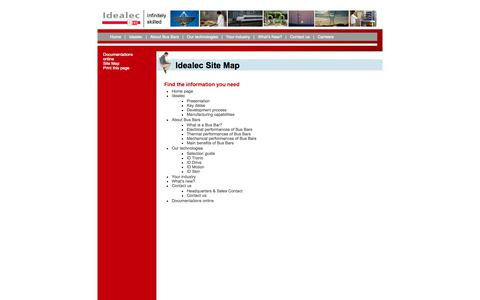Screenshot of Site Map Page idealec.com - Idealec laminated bus bars: Idealec Site Map - captured Oct. 6, 2014