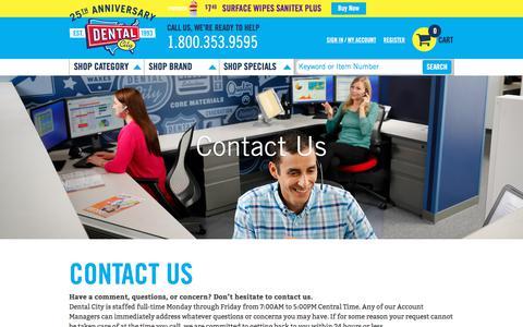 Screenshot of Contact Page dentalcity.com - Contact us - captured Aug. 6, 2018