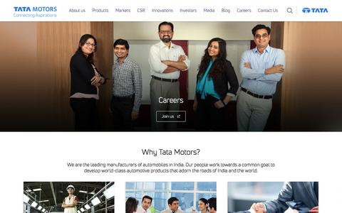 Screenshot of Jobs Page tatamotors.com - Careers - captured Feb. 18, 2018