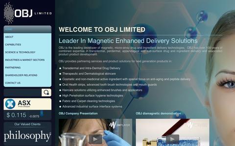 Screenshot of Home Page obj.com.au - OBJ Limited - Welcome to OBJ Limited - captured Oct. 9, 2014