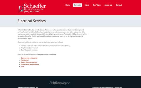Screenshot of Services Page schaefferelectric.com - Schaeffer Electric: St. Louis Electrical Services  |  Electrical Services - captured Feb. 4, 2016