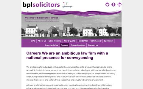 Screenshot of Jobs Page bplaw.co.uk - BPL solicitors - specialist conveyancing solicitors - captured Oct. 5, 2018
