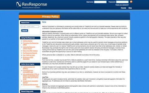 Screenshot of Privacy Page revresponse.com - Privacy Policy | B2B Affiliate Program - RevResponse - captured Sept. 23, 2014