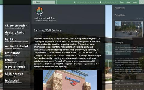 Screenshot of Services Page rbiphx.com - Banking / Call Centers  – reliance build, inc. - captured Feb. 24, 2016
