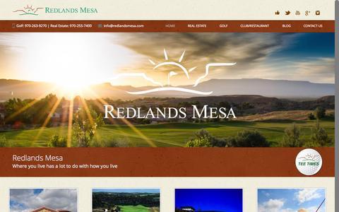 Screenshot of Home Page redlandsmesa.com - Redlands Mesa | Award-Winning Golf Course Colorado | Where you live has a lot to do with how you live - captured Oct. 5, 2014