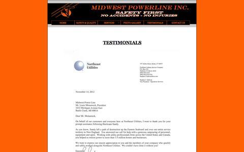 Screenshot of Testimonials Page midwestpowerline.com - Midwest Powerline Inc. - Testimonials - captured Oct. 7, 2014