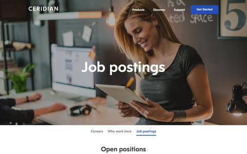Screenshot of Jobs Page ceridian.com - Job Postings | Ceridian Careers - captured Feb. 5, 2018