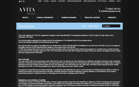 Screenshot of Terms Page avitayarm.co.uk - Terms of Use | Avita Medi Spa - Yarm - captured Oct. 3, 2014