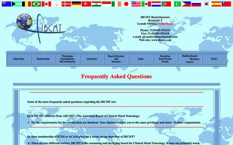 Screenshot of FAQ Page ibcmt.com - International Board of Metal Toxicology - captured April 22, 2016