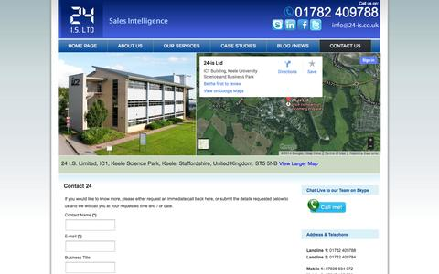 Screenshot of Contact Page 24-is.co.uk - Contact Us - captured Oct. 27, 2014