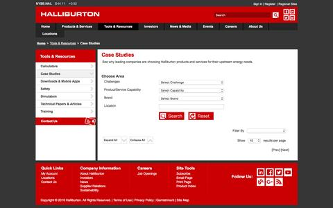 Screenshot of Case Studies Page halliburton.com - Case Studies - Halliburton - captured June 19, 2016