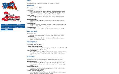 Screenshot of Menu Page bluznews.com - Events Calendar - Bluz at the Bend - captured April 13, 2017