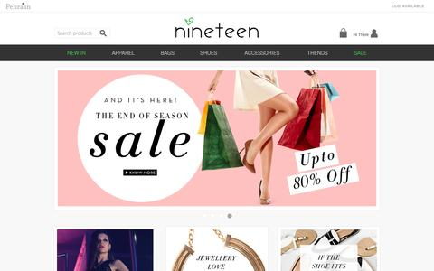 Screenshot of Home Page shopnineteen.com - Shop Online Women Clothing, Buy Shoes, Bags & Jewelry for Girls at Shopnineteen - captured Jan. 14, 2016