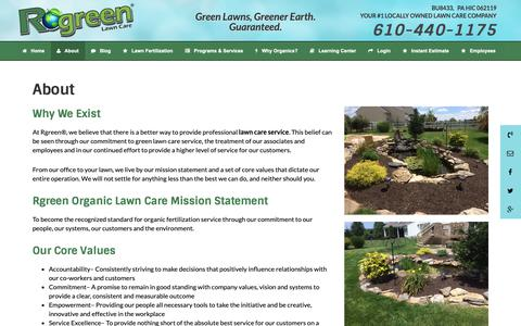 Screenshot of About Page rgreenlawn.com - Lawn Care Service   Rgreen Organic Lawn Care   Bath PA - captured Oct. 19, 2018