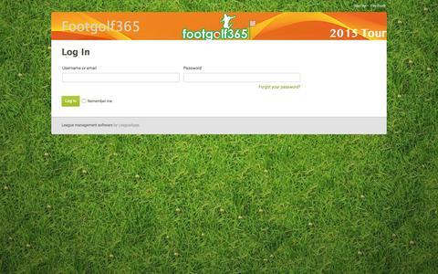Screenshot of Login Page leagueapps.com - Login : Footgolf365 - captured March 2, 2016