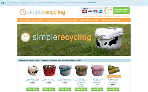 Screenshot of Home Page simplerecycling.co.uk - Delivered to the UK | Food Composter, Food Waste Bin and Compostable Liner Bags - captured Sept. 30, 2014