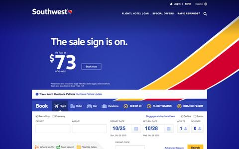 Screenshot of Home Page southwest.com - Southwest Airlines | Book Flights, Airline Tickets, Airfare - captured Oct. 24, 2015