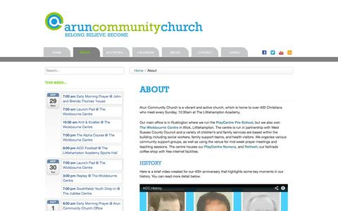 Screenshot of About Page aruncommunitychurch.com - Arun Community Church | About - captured Sept. 30, 2014