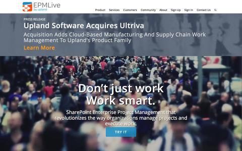 Screenshot of Home Page epmlive.com - EPM Live | Online Project Management - captured Dec. 6, 2015