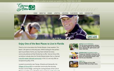 Screenshot of Home Page thevillagesofcitrushills.com - The Villages of Citrus Hills, Florida New Homes and Golf Community - captured Jan. 11, 2016