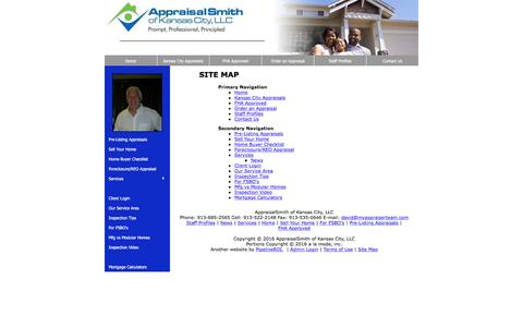 Screenshot of Site Map Page myappraiserteam.com - Site Map - AppraisalSmith of Kansas City, LLC - captured Nov. 21, 2016