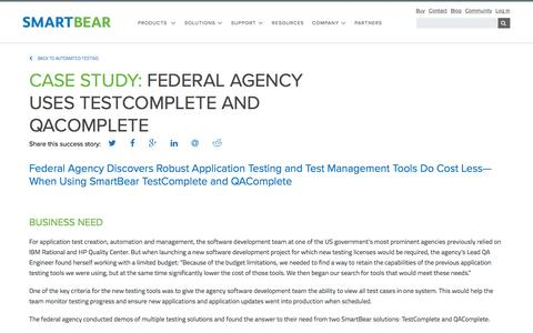 Screenshot of Case Studies Page smartbear.com - Case Study: Federal Agency | SmartBear - captured May 19, 2017