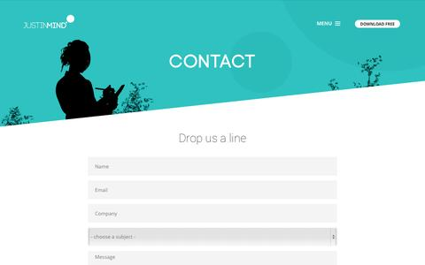 Screenshot of Contact Page justinmind.com - Interactive wireframes made easy. Get in touch with us! - captured Dec. 16, 2014