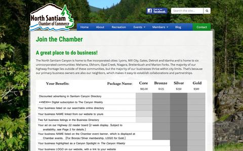 Screenshot of Signup Page nschamber.org - Join the Chamber - North Santiam Chamber of Commerce - captured Nov. 11, 2016