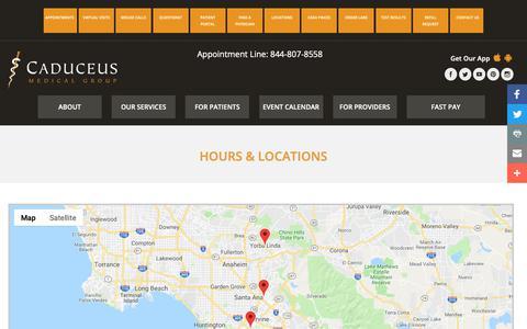 Screenshot of Locations Page caduceusmedicalgroup.com - Hours & Locations for Caduceus Medical Group - captured Nov. 4, 2018