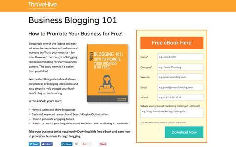 Screenshot of Landing Page thrivehive.com - Business Blogging 101    ThriveHive - captured Aug. 19, 2016
