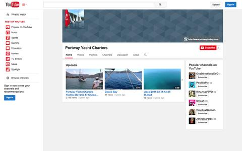 Screenshot of YouTube Page youtube.com - Portway Yacht Charters  - YouTube - captured Oct. 22, 2014