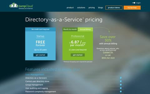 Screenshot of Pricing Page jumpcloud.com - Directory-as-a-Service® Pricing from JumpCloud - captured July 4, 2016