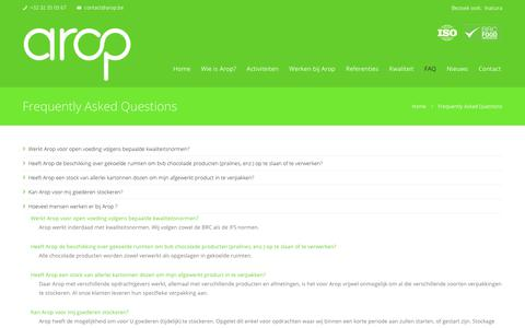 Screenshot of FAQ Page arop.be - Frequently Asked Questions | AropCorp - captured Oct. 22, 2017