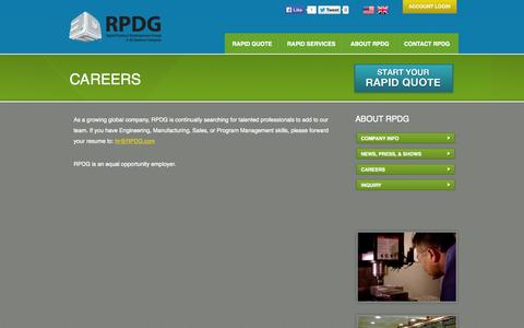 Screenshot of Jobs Page rpdg.com - RPDG - Careers At RPDG - captured Oct. 7, 2014