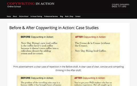 Screenshot of Case Studies Page copywritinginaction.com.au - Before & After Copywriting in Action: Case Studies   COPYWRiTING IN ACTION - captured Oct. 5, 2014