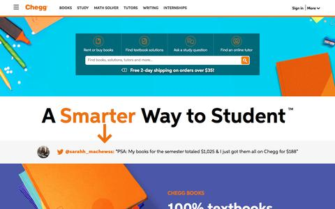 Screenshot of Home Page chegg.com - Chegg - Get 24/7 Homework Help | Rent Textbooks - captured Sept. 24, 2018