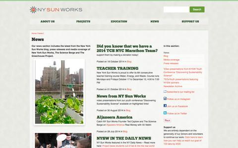 Screenshot of Press Page nysunworks.org - New York Sun Works: News - captured Oct. 26, 2014