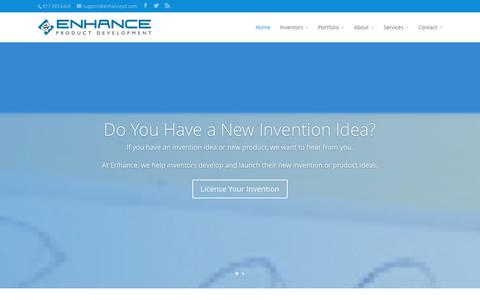 Screenshot of Home Page enhancepd.com - Invention Design, Product Development & Licensing | Enhance - captured Jan. 29, 2016