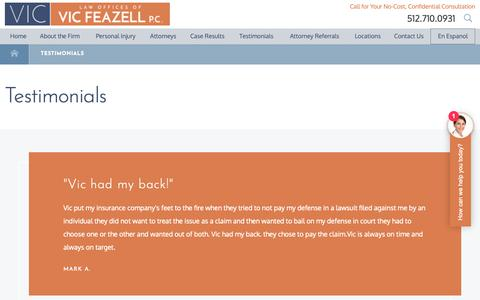 Screenshot of Testimonials Page withviclegal.com - Testimonials | Law Offices of Vic Feazell, P.C. - captured Sept. 27, 2018