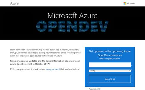 Screenshot of Landing Page microsoft.com - Azure OpenDev | Microsoft - captured July 24, 2017