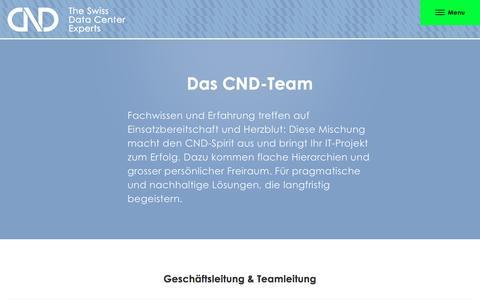 Screenshot of Team Page cnd-ag.ch - CND Schweizer IT-Unternehmen, Team | CND AG The Swiss Data Center Experts - captured July 9, 2016