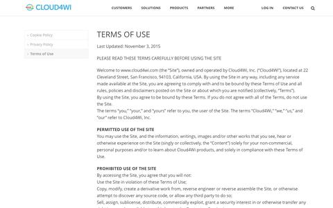 Screenshot of Terms Page cloud4wi.com - Terms of Use - Cloud4Wi - captured July 4, 2016