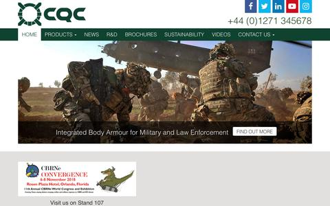 Screenshot of Home Page cqc.co.uk - CQC - a world leading manufacturer of Military Equipment - captured Sept. 25, 2018
