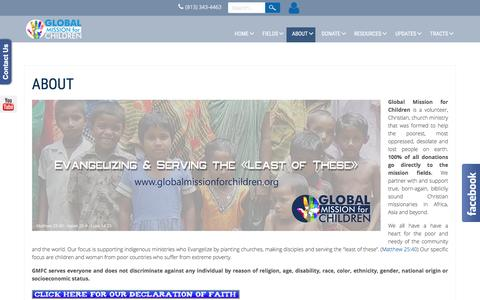 Screenshot of About Page globalmissionforchildren.org - ABOUT - captured July 14, 2016