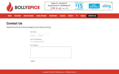 Screenshot of Contact Page bollyspice.com - Contact Us   BollySpice.com – The latest movies, interviews in Bollywood - captured Oct. 10, 2017