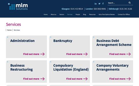 Screenshot of Services Page mlmsolutions.co.uk - Personal & Corporate Debt Help Services | mlm Solutions - captured Sept. 22, 2017