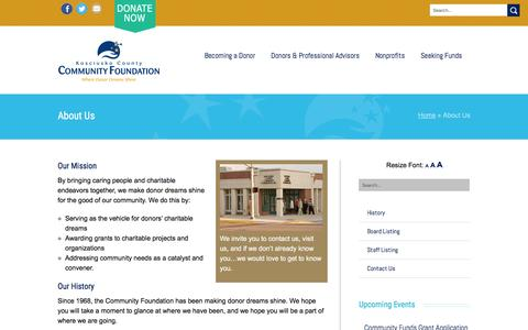 Screenshot of About Page kcfoundation.org - About Us | Kosciusko County Community Foundation - captured June 23, 2016