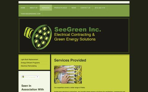 Screenshot of Services Page seegreen-inc.com - Services - SeeGreen Inc. - captured Sept. 30, 2014