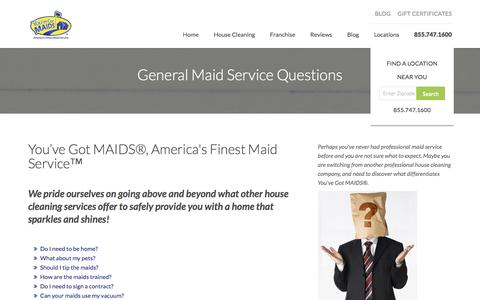 Screenshot of FAQ Page youvegotmaids.com - General Maid Services | FAQ | Frequently Asked Questions - captured May 11, 2017